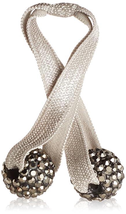 Emi Jay - doble elástico con bolas cubiertos con diamantes de imitación, de Color gris