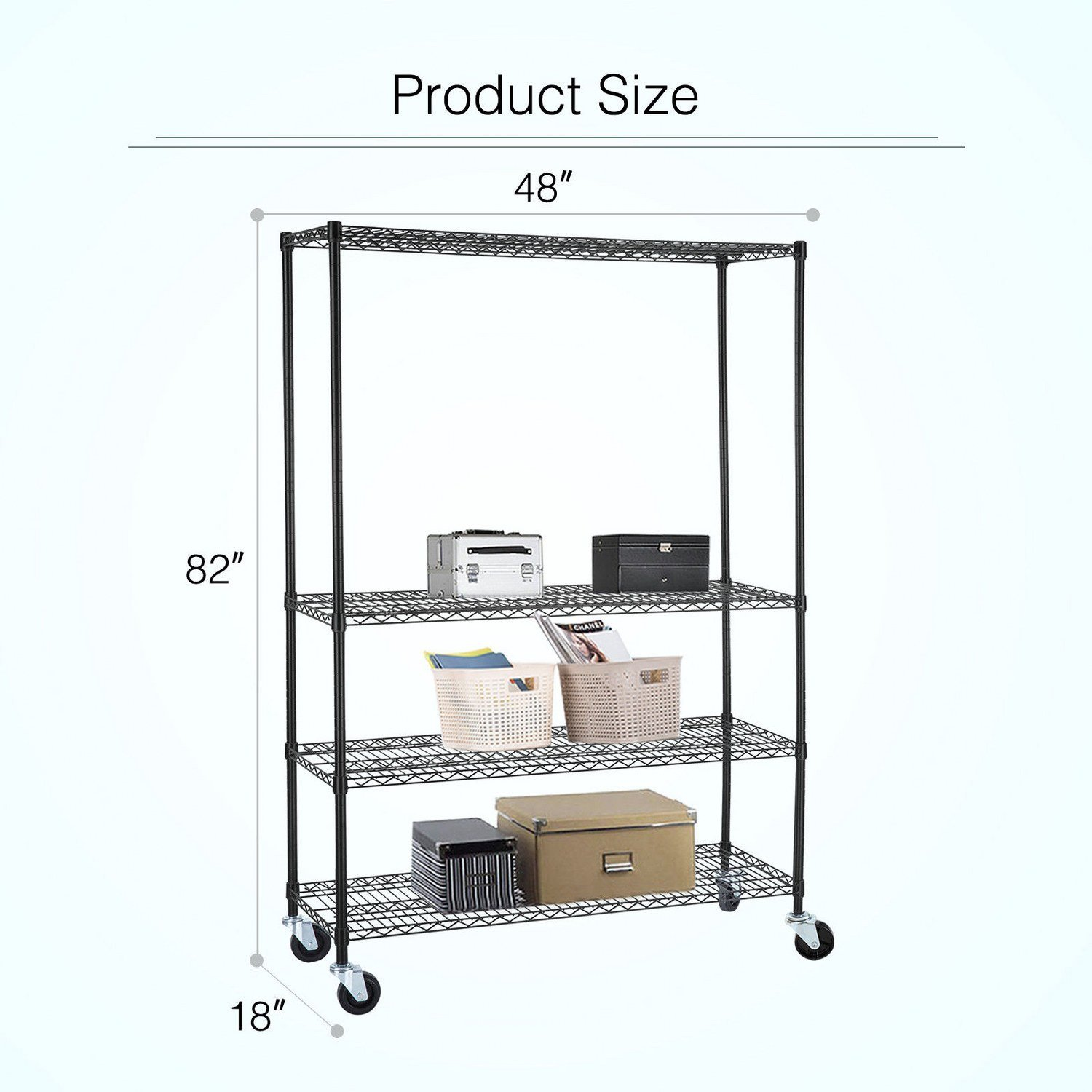 Adjustable Heavy Duty 4 Tier Shelving Rack Weight Capacity 200 Lbs. Steel Wire Metal Shelf New by Okapi (Image #4)