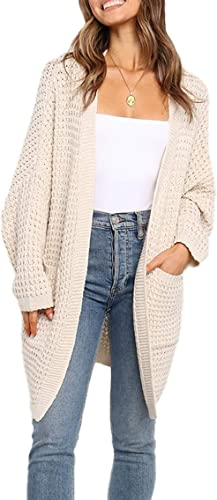 Starall Casual Cardigan Solid Color Knitted Comfy Sweater Cardigan Casual Warm Fashion Coat for Women Girls Ladies