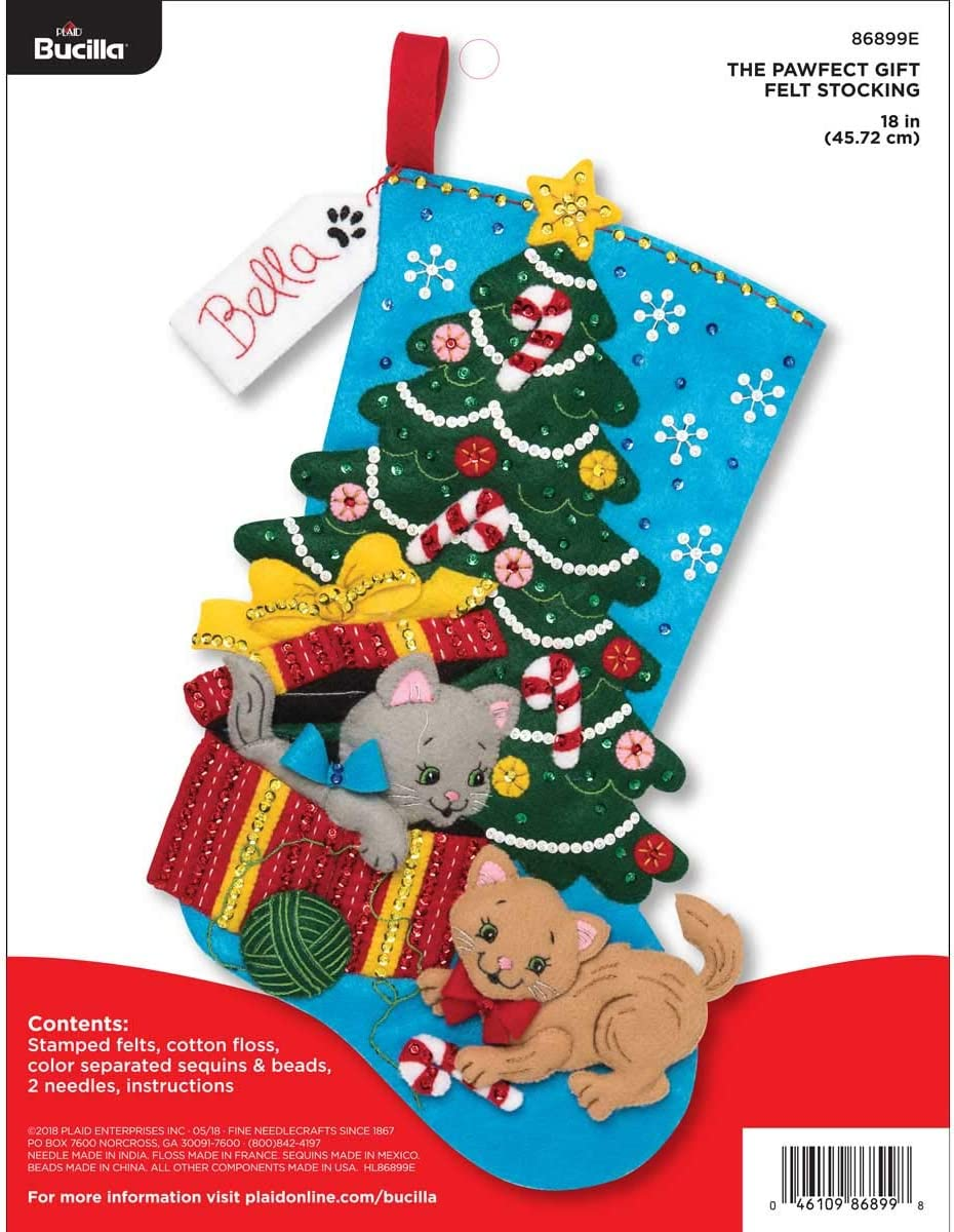 86142 Santa Poinsettia Tree Bucilla 18-Inch Christmas Stocking Felt Applique Kit
