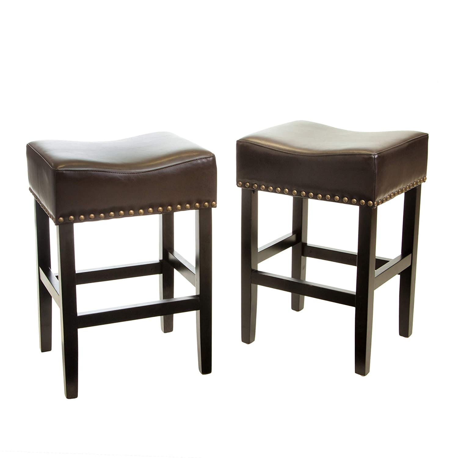 Amazon com great deal furniture chantal backless brown counter stools with brass nailhead studs set of 2 kitchen dining
