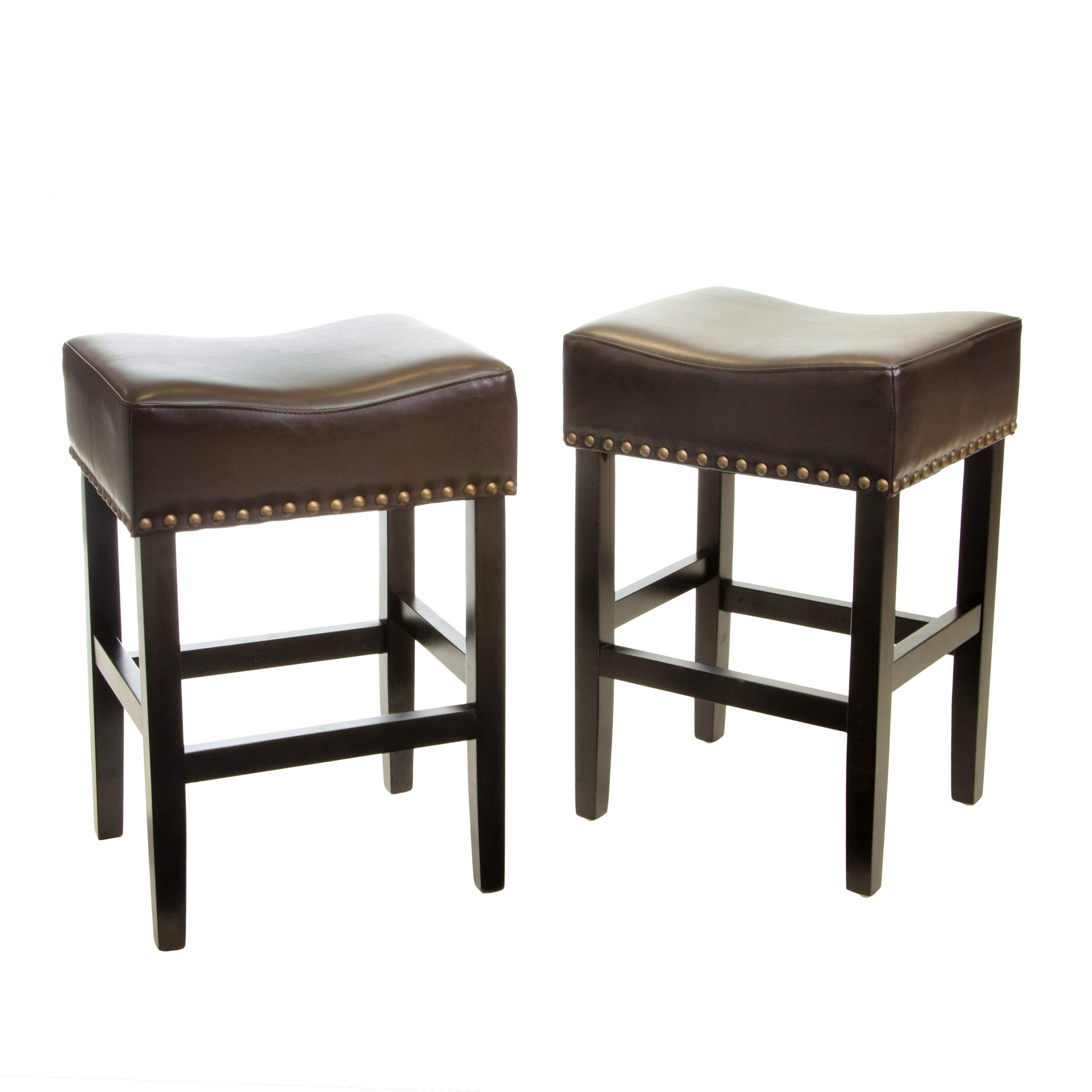 Christopher Knight Home 238536 Chantal Backless Counter Stools with Brass Nailhead Studs, Set of 2, Brown by Christopher Knight Home