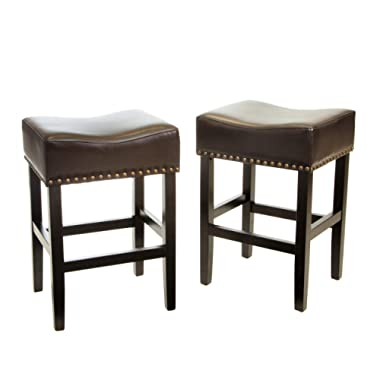 Chantal Backless Brown Counter Stools with Brass Nailhead Studs, Set of 2