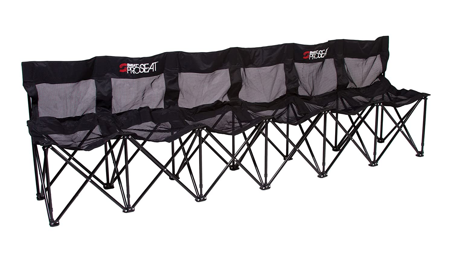 Sweat Bench - 6 Seat Folding soccer Bench Chair with Back - Black
