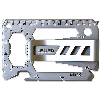 Lever Gear Toolcard Pro con Clip para Billetes - Multi-herramienta 40 en 1 en formato de tarjeta de crédito. Multi Herramienta de Cartera Elegante ...