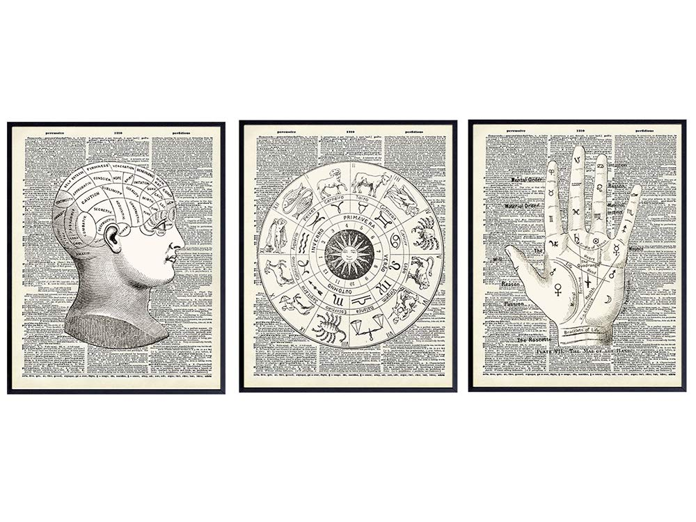 Mystical Occult Upcycled Dictionary Home Decor Set - 8x10 Vintage Wall Art - Unique Shabby Chic Gift for Astrology, Zodiac Sign, Palm Reading, Palmistry, Phrenology, Tarot Fan, Psychic, Fortune Teller