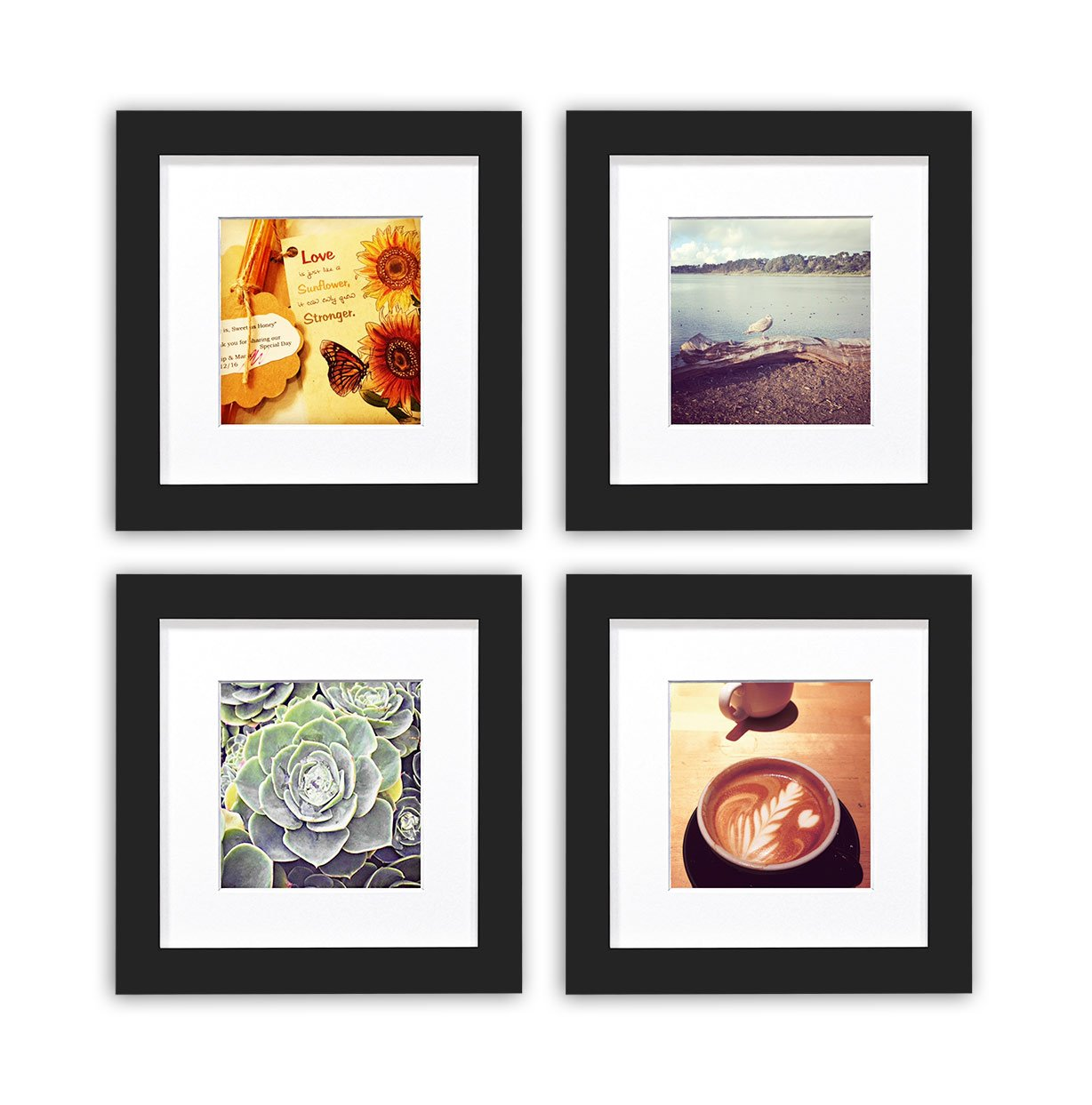 Golden State Art, Smartphone Instagram Frames Collection, 6x6-inch Square Photo Wood Frames with White Photo Mat & Real Glass for 4x4 Photo, Black 2016BP-GWF-66-1-44-1-SF0081