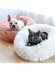 "Neekor Pet Bed - Luxury Shag Fuax Fur Donut Cuddler, Dog Cat Round Donut Luxury Cushion Bed, Self-Warming Cozy Joint-Relief and Improved Sleep, Machine Washable(Multiple Sizes) (19.7""x10.2"", White)"