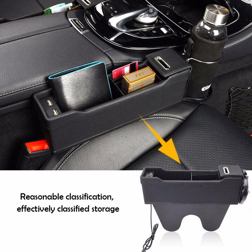 Car Seat Organizer Caddy Slit Gap Filler PU Leather, Driver Side KOBWA Console Side Pocket With Coin Organizer /& Cup Holder /& 2 USB Charging Ports