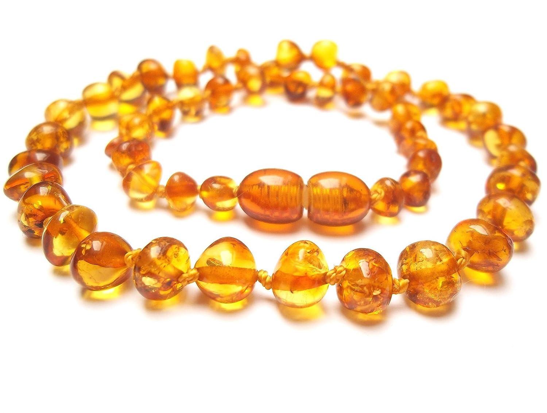 Collier Ambre 33cm. - 100% Plus Haute Qualite Certifie l'Ambre la Baltique Authentique Collier Perles. Amberta® Amber Eco Goods AEG-48