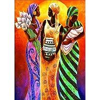 Shuohu - Pintura de Tres Mujeres con Diamantes, Resina Parcial, Pintura de Diamante, Punto de Cruz, decoración para el hogar