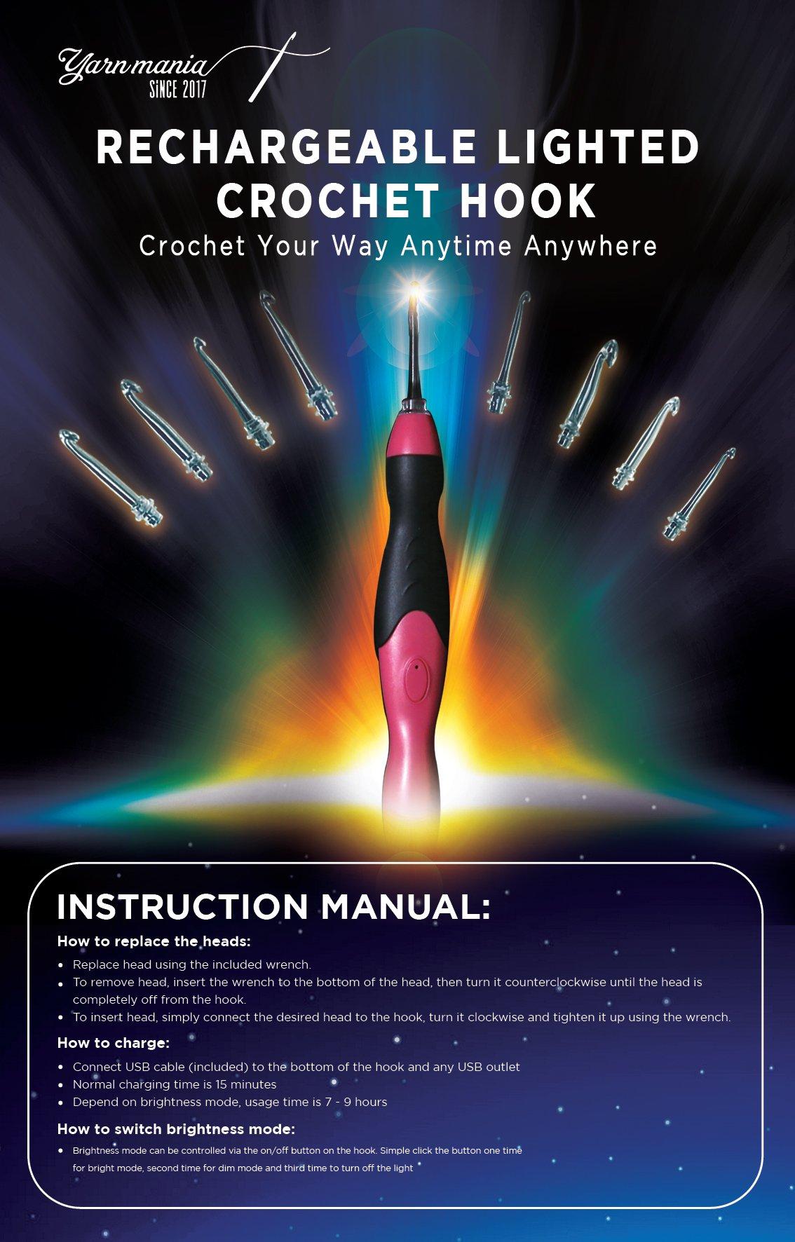 Yarn Mania Light Up Crochet Hooks - 9 Interchangeable Lighted Crochet Hooks (2.5mm - 6.5mm) - Bonus Accessories and Case (Purple) by Yarn Mania (Image #2)