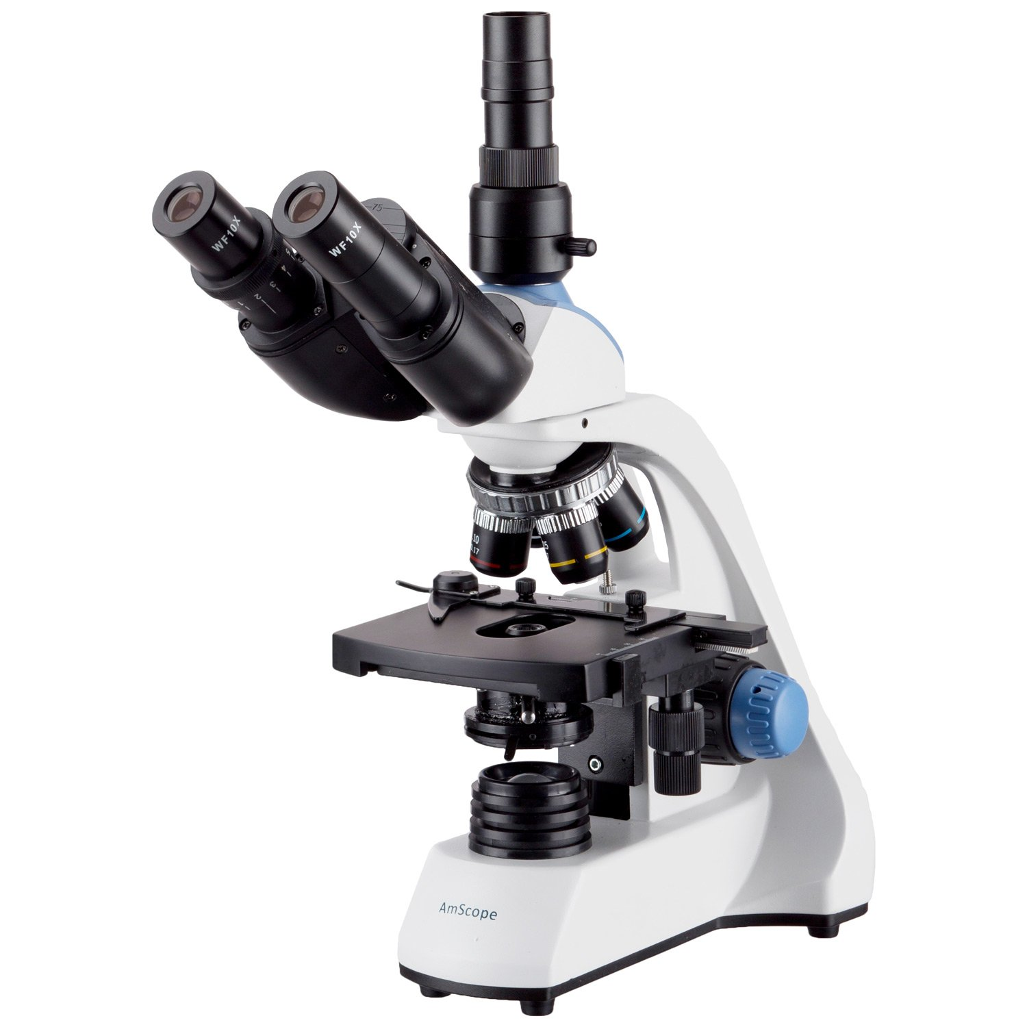 AmScope 40X-2500X LED Trinocular Compound Microscope w 3D Two-Layer Mechanical Stage by AmScope