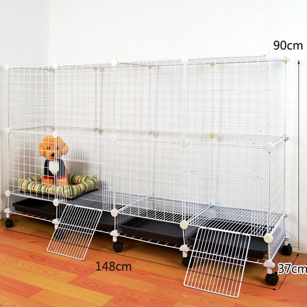 折り畳み式の金属製犬クレート,小型犬猫ケージ ウサギのケージを二層 スリーピース ペット フェンス ホイールとトレイの鉄ケージ ステンレス犬ケージ箱-S B07CVRRY9V 23193 S S