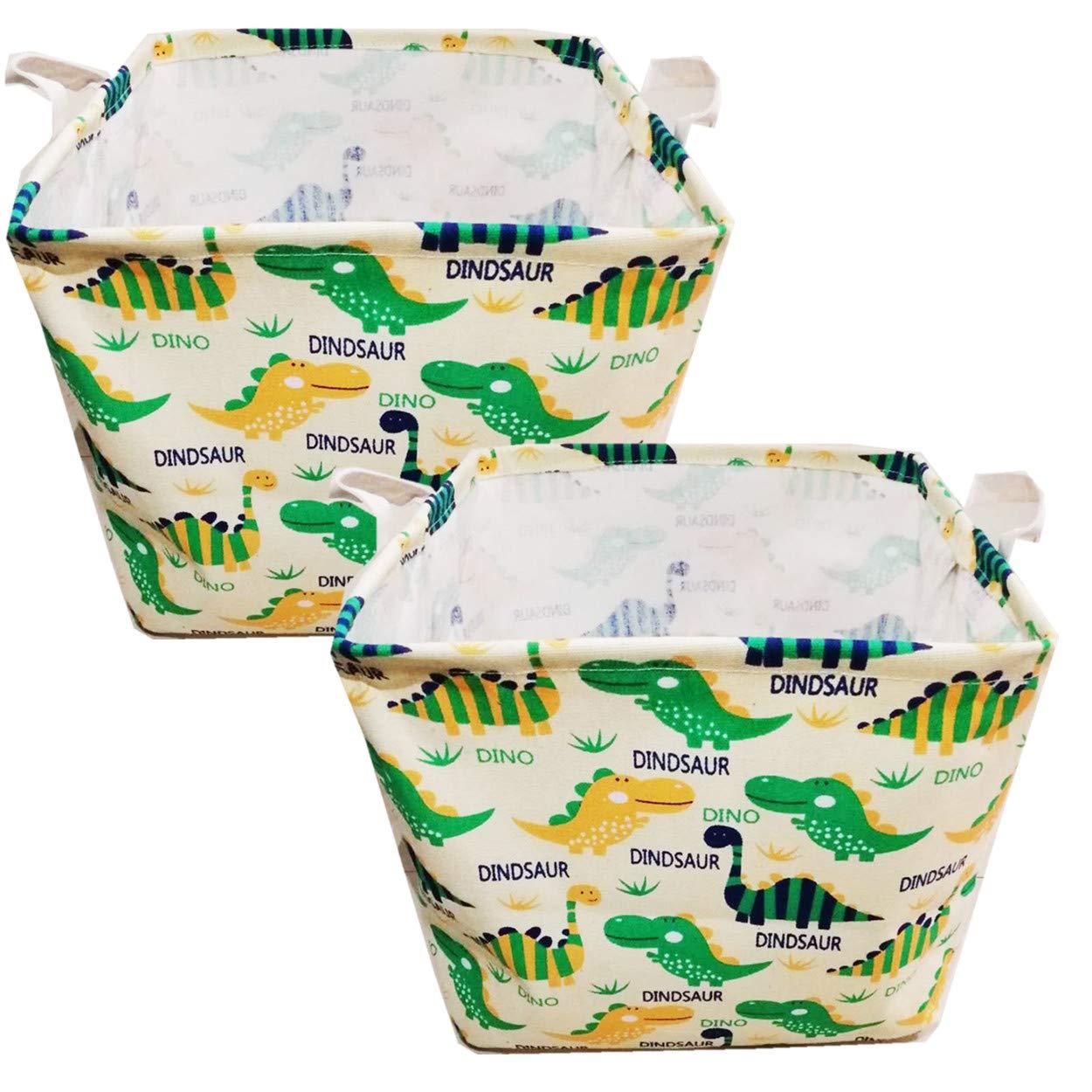 Canvas Collapsible Toy Organizer for Gift Basket,Kids Toy Organizer,Shelf Basket,Baby Girl Nursery,Blue Dinosaur Unibedding 2 Pack Square Canvas Toy Storage Bins Basket with Handle
