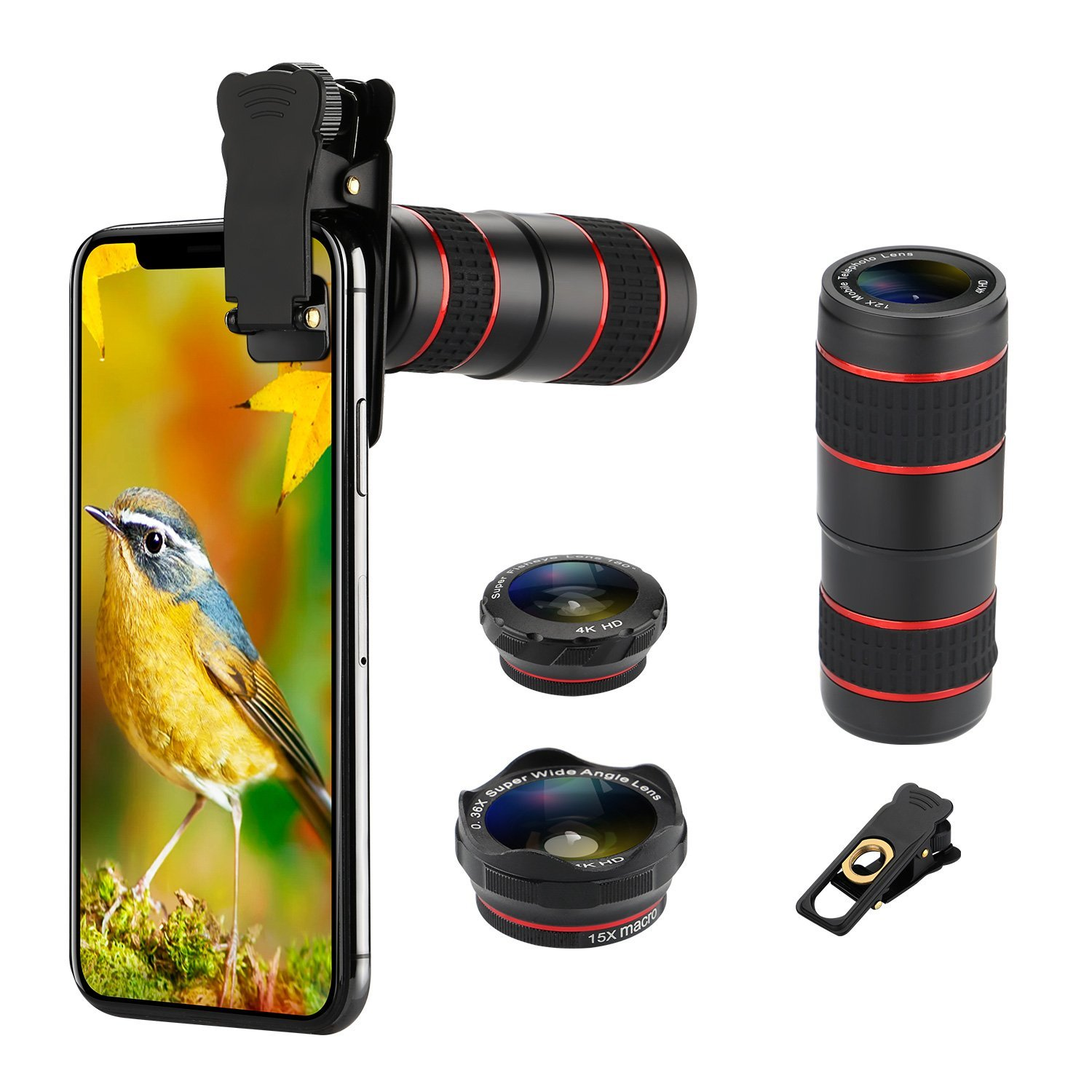 Phone Camera Lens Kit, BHUATO 12X Zoom Telephoto Lens + 0.36 Wide-Angle Lens +180° Fisheye Lens + 15X Macro Lens + Carrying Case for iPhone X/8/7/7 Plus/6/6s, Samsung and Most of Smartphones