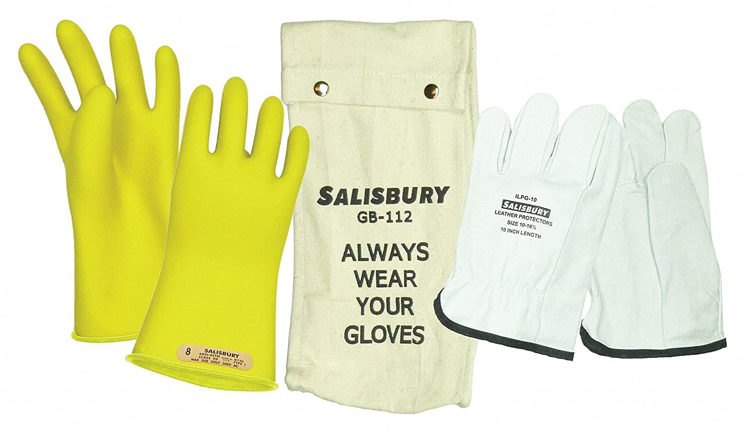 Size 10; One Pair 11L Class 0 Yellow Salisbury by Honeywell GK011Y10 Insulated Glove Kit
