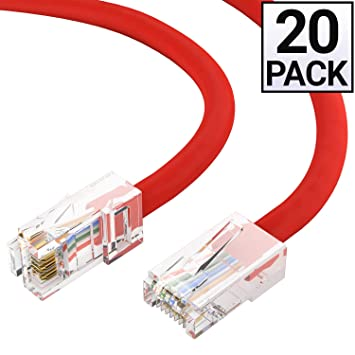 25 Pack 1FT Cat6 UTP Ethernet Network Patch Cable RJ45 Lan Wire Red
