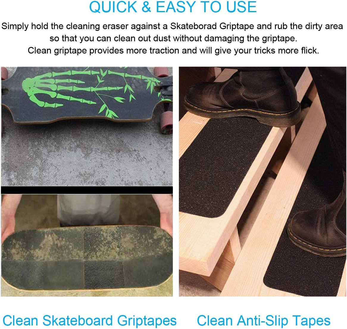 Skateboard Cleaner Leather Products Used for Surface Cleaning of Scooters Handbag Crafts QIXIN 8PCS Cleaning Rubber Stick Shoes