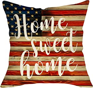 Ussap Home Sweet Home Decorative Throw Pillow Cover, American Flag July 4th Stars Stripes Rustic Home Farmhouse Decorations, USA Patriotic Cushion Case for Sofa Couch Decor Cotton Linen 18