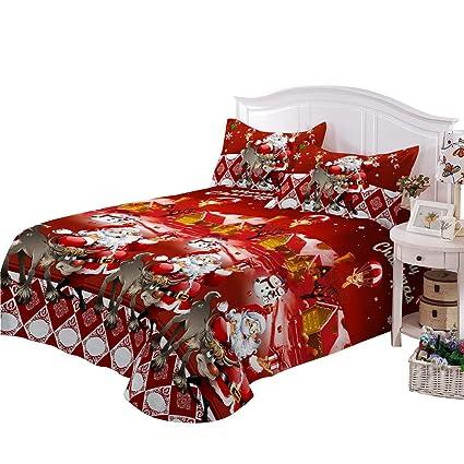Christmas Sheets King.Junhome Sheets King Size Christmas Sheet Set King 3d Santa Elk Printed Red Christmas Fitted Sheet 4 Piece Home Decor