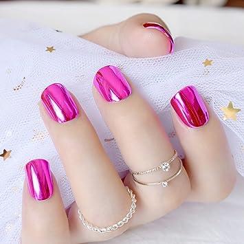 echiq Rose Bloom rosa placa de metal uñas postizas reflectante espejo estilo punk color morado melocotón metálico cuadrado Falso uñas para fiesta o regalo: ...