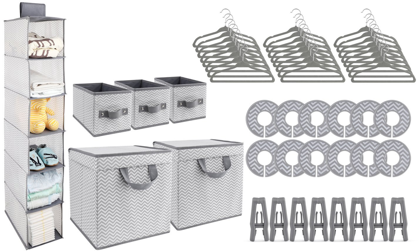 GOLOHO Nursery Organizer and Storage Closet Set (50 Pieces), Chevron Pattern, Grey and White by GOLOHO