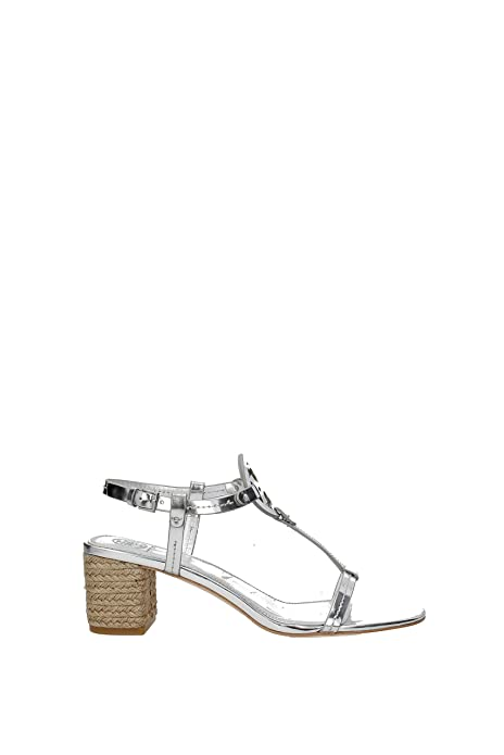 b7fb296ca38b Tory Burch Miller Women s Leather Espadrille Sandal (Metallic Silver) ...