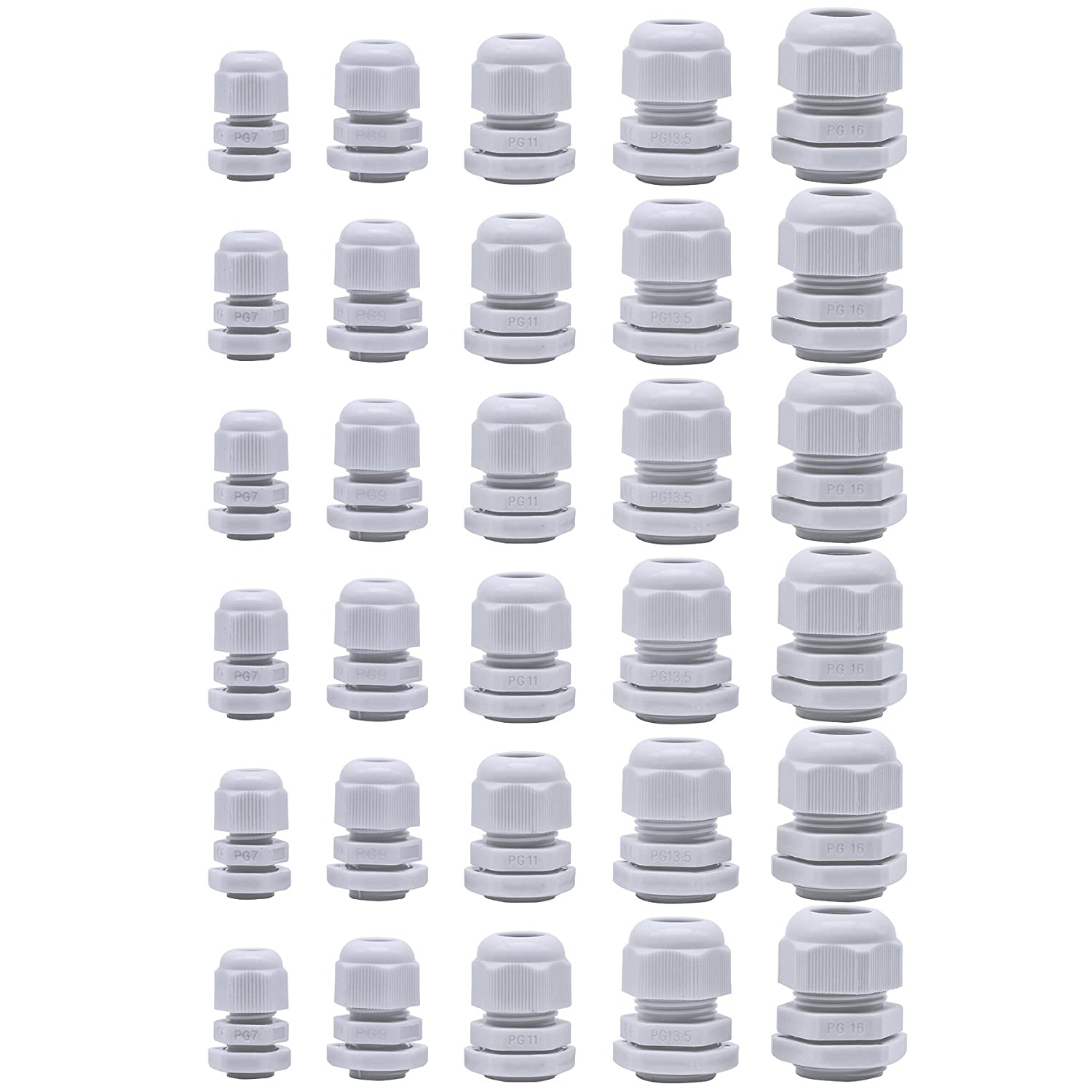 30 Pcs Cable Glands Plastic Waterproof Cable Connectors Adjustable 3.5 13mm Cable Gland Joints PG7 PG9 PG11 PG13.5 PG16 White by Jetovo