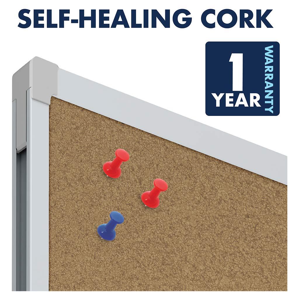 Mead Corkboard, Framed Bulletin Board, 4' x 3', Cork Board, Aluminum Frame  (85362)