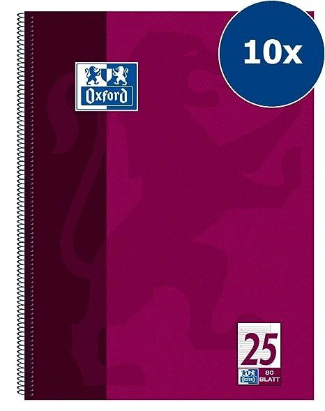 Oxford College 100050355 - Cuaderno de espiral (10 unidades, con rayas, 80 hojas