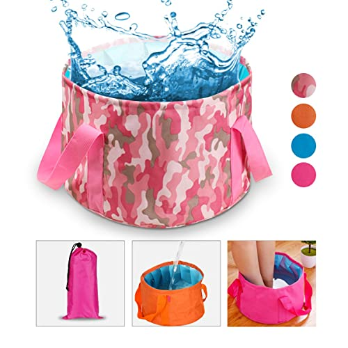 Collapsible Water Bucket Camp Bucket, NATUCE Ultralight Folding Wash Basin Carrying Pouch Travel Outdoor Camping Hiking Storage Pouch 15L