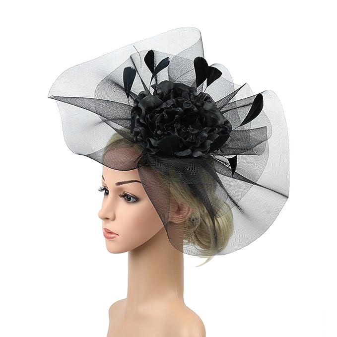 ACTLATI Fascinator Hats Big Flower Mesh Feather Headband for ... b00031a93a3