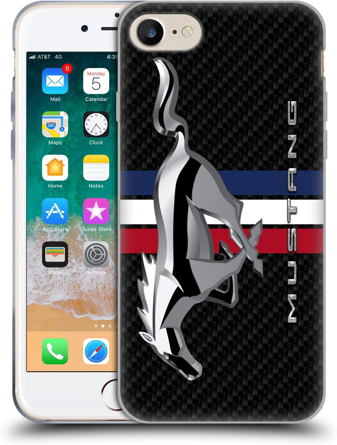 Head Case Designs Officially Licensed Ford Motor Company Oversized Mustang Logos Soft Gel Case Compatible with Apple iPhone 7 / iPhone 8 / iPhone SE 2020
