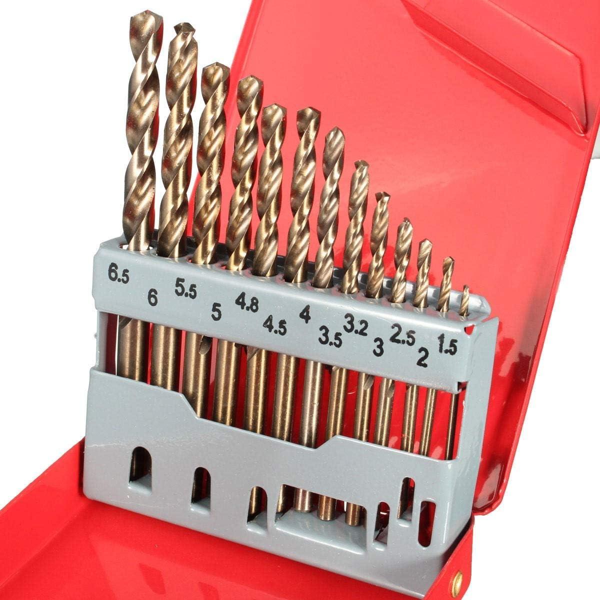 SXM-SXM Drill HSS Drilling Bits Twist Drill Bit 13PCS With Box Titanium Nitride Coated 1.5-6.5mm Bits Set Drill Accessories Drill