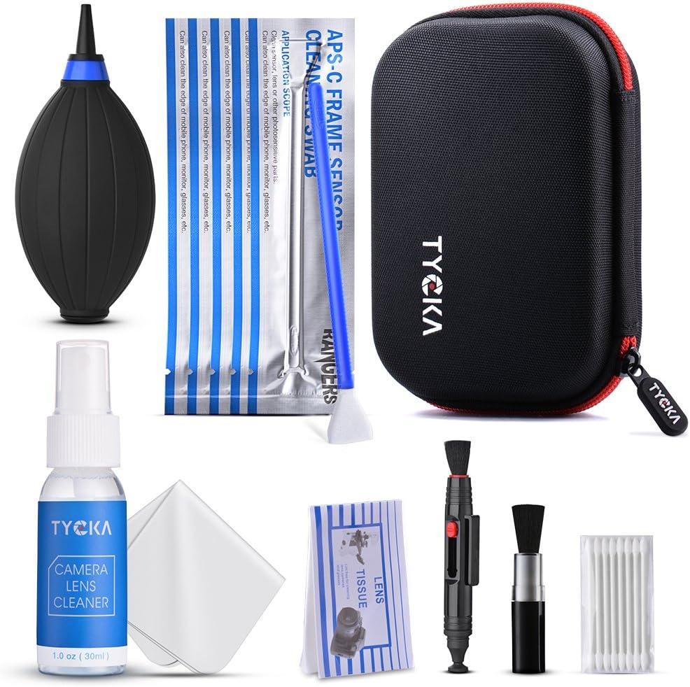 TYCKA Kit de Limpieza para Cámara y Sensor, Carcasa Impermeable Negra, paño de Microfibra, toallitas de Limpieza para Lentes, para cámaras réflex Digitales Canon, Nikon, Pentax, Sony ect