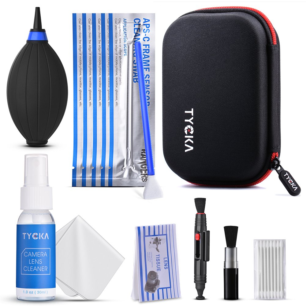 Tycka Professional Camera Cleaning Kit TK005 (with waterproof case), 30ml non-toxic alcohol-free cleaning solution, improved uni-body air blower, cleaning swabs, lenspen for DSLR, Lens and Sensors by TYCKA
