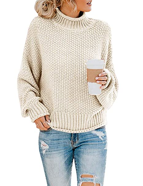 Rainlin Womens Turtleneck Sweater Casual Cable Knitting Sweater Long Sleeve  Pullover Sweaters for Women
