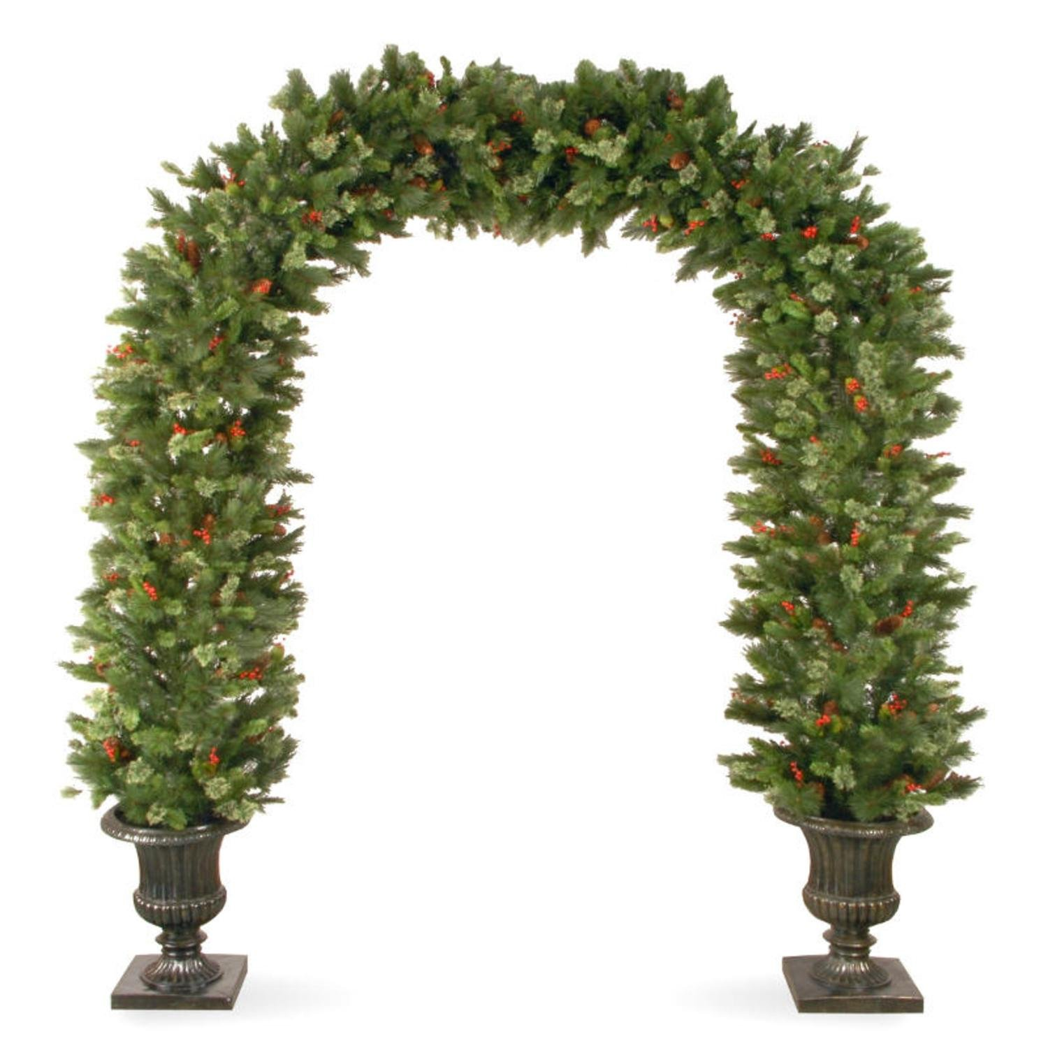 National Tree Company 8.5' Wintry Pine Artificial Christmas Archway with Cones, Berries and Snow - Unlit