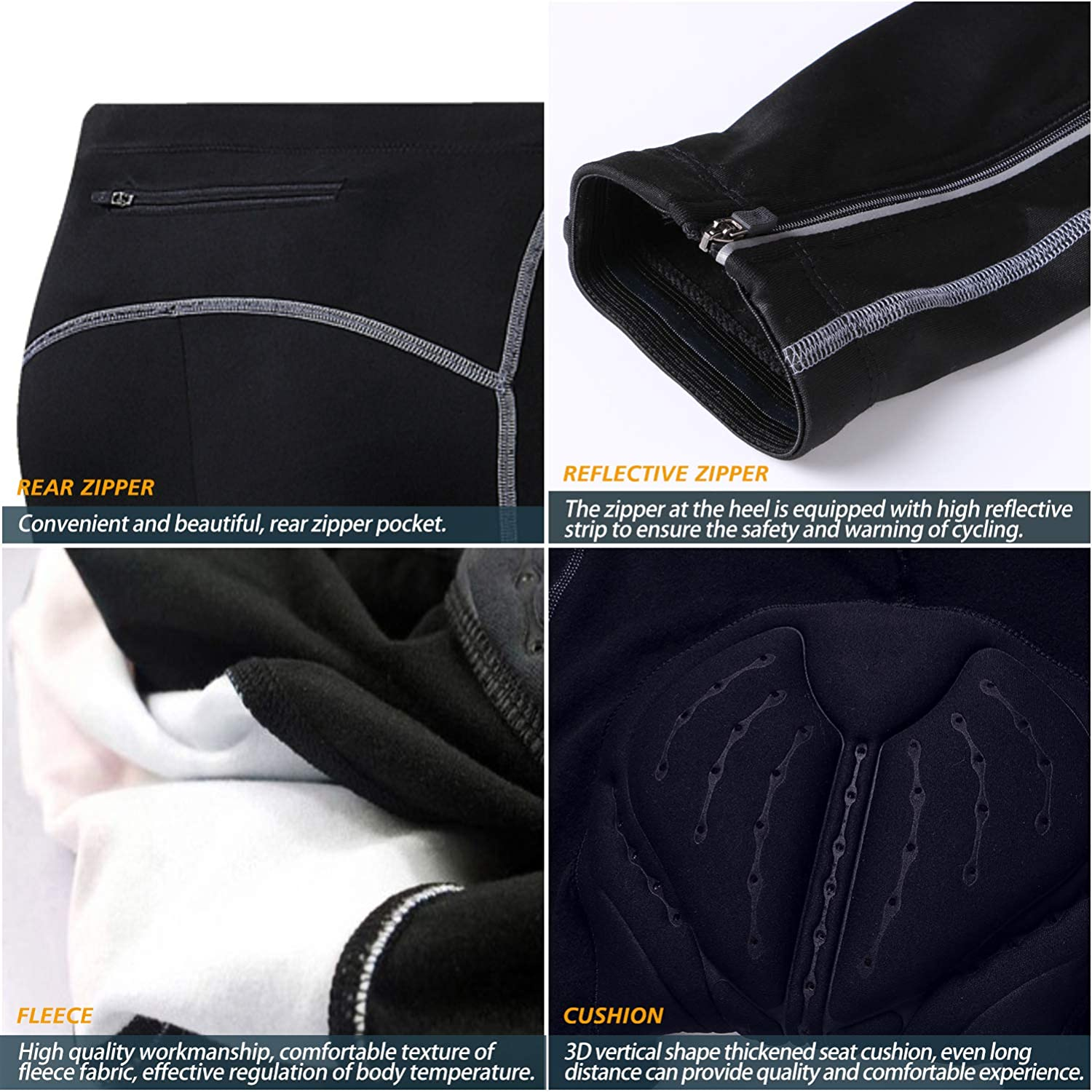 COOLOMG Mens Padded Windproof Cycling Pants Fleece Lined Athletic Tights Thermal Running Riding