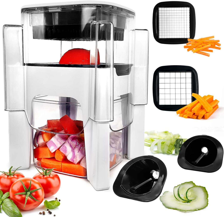 Vegetable Chopper, Fun Life 4 in-1 Food Chopper Cutter Slicer Dicer, Manual Veggie Slicer For Cutter, Dicer, Spiralizer For Onion, Garlic, Cabbage, Carrot, Potato, Tomato, Fruit, Salad