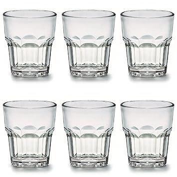 Kerafactum 4 x Bruchfeste Gl/äser Becher langlebige Wassergl/äser aus stabilem Kunststoff Saft Whisky Glas Partybecher Whiskybecher Trinkbecher in echter Glasoptik stapelbar