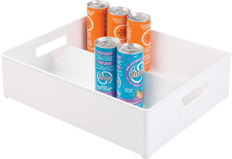 "iDesign Plastic Fridge and Freezer Divided Storage Organizer Bin With Handles, Clear Bin for Food, Drinks, Produce Organization, BPA-Free, 12"" x 4"" x 14.5"" - White"