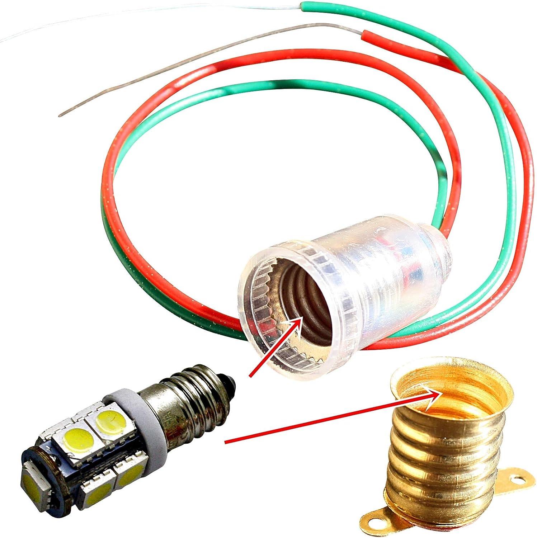 LED-Mafia 1X 10x E10 LAMPENFASSUNG Gl/ühlampe Lampe Fassung Kabel Sockel Fassung mit Kabel, 1x