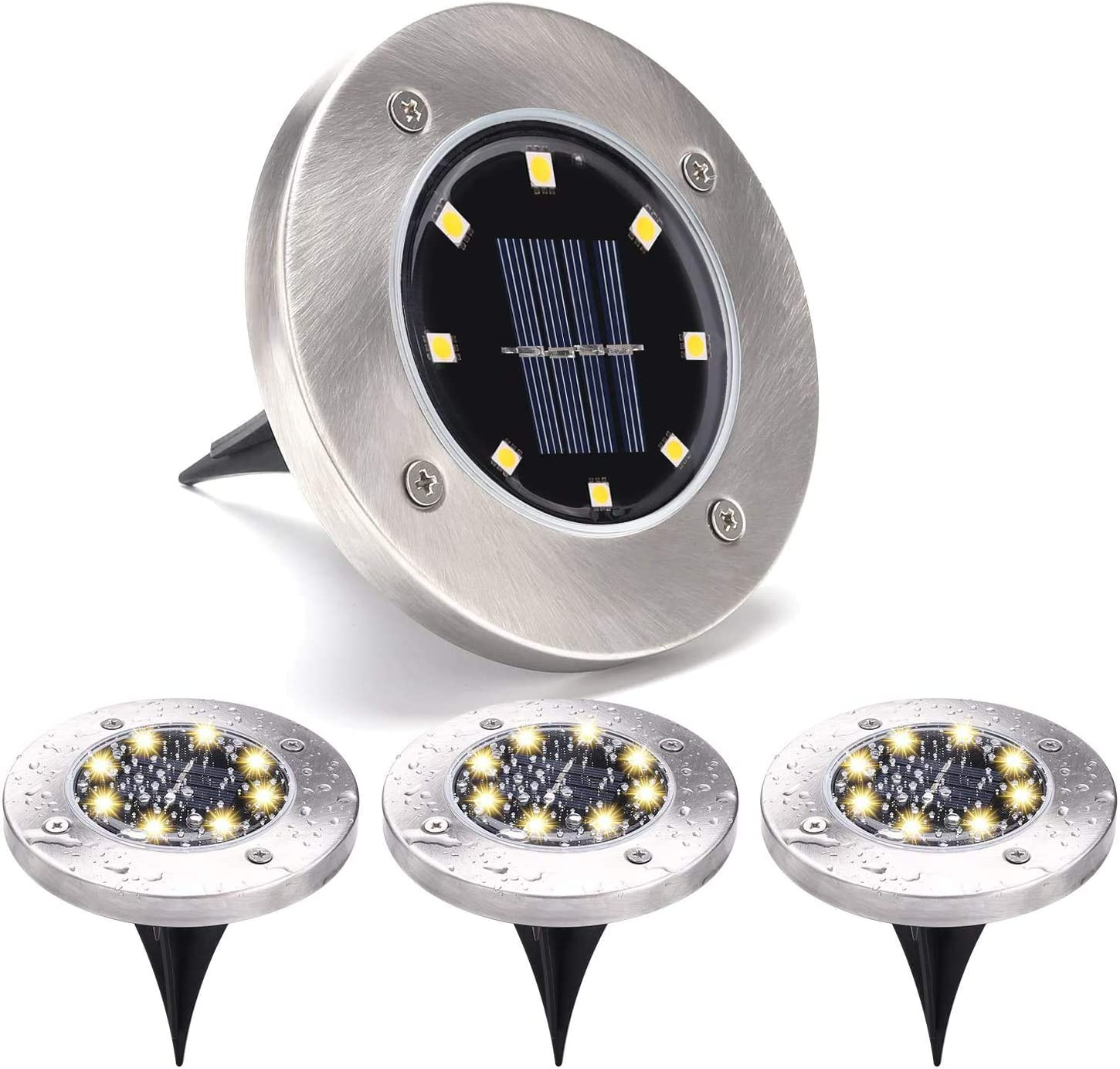 Solar Lights for Landscape Outdoor Garden, LEFYR 4 Pack 8 LED Solar Ground Lights Bright IP65 Waterproof Backyard Landscape Lighting Solar Powered Disk Natural Spotlight for Lawn Pathway Yard Driveway