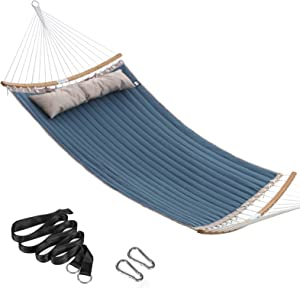 SONGMICS Padded Double Hammock, Quilted Hammock, Swing Bed with Hanging Straps, Detachable Curved Spreader Bars, Pillow, 78.7 x 55.1 Inches, Load Capacity 495 lb, Blue and Beige UGDC034I01