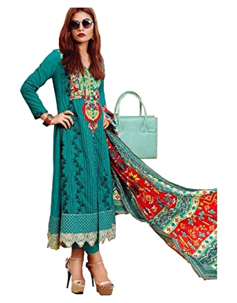 a920fd4146 Madeesh Pakistani Suit for Women, Full Self Embroidered Pure Cotton Shirt,  Embroidered Patch Sleeves, Semi Lawn ...