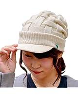 つば付きニット帽 メンズ レディース ニットキャスケット ニットキャップ ニット帽 ツバ付きニットキャップ クロス編み キャスケット つば付き 帽子 ブラック 黒 防寒 厚手 小顔効果 ボリューム