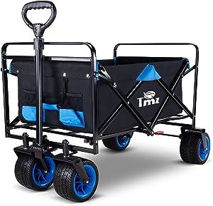 TMZ All Terrain Utility Folding Wagon, Collapsible Garden Cart, Heavy Duty Beach Wagon, for Shopping, Camping, and Outdoor Activities (Blue)