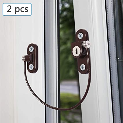 Esynic 2 Pcs Lockable Window Door Restrictor Child Baby